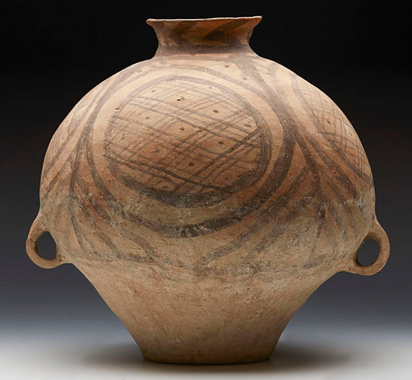 Neolithic Chinese Painted Terracotta Twin-Handled Jar, Third Millennium B.C. For Sale 3