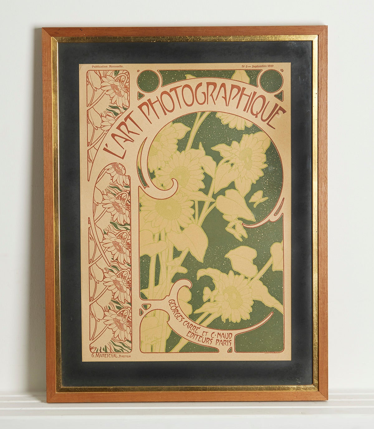 The editor of the publishing journal L'Art Photographique George Carre had stressed his intentions, but inability to have photographic covers for the journal. The talented Artist Alphonso Mucha was hired to produce innovative Art Nouveau style