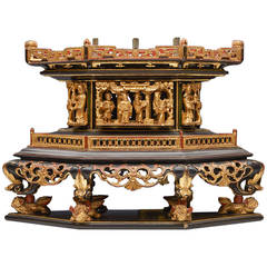 Antique Chinese Carved Incense Burner Stand, 19th Century