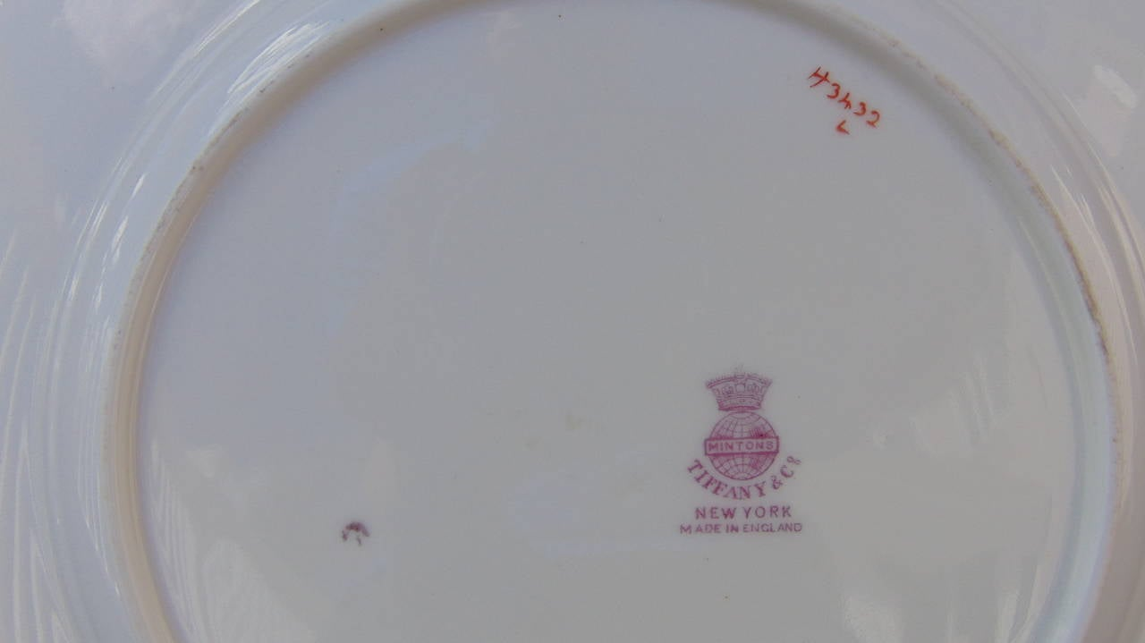 Antique Minton Porcelain Plates In Excellent Condition For Sale In Manchester & Tiffany and Co. Antique Minton Porcelain Plates For Sale at 1stdibs