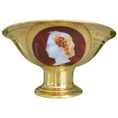 Museum Quality First Empire Porcelain Fruit Bowl with Cameo Profiles