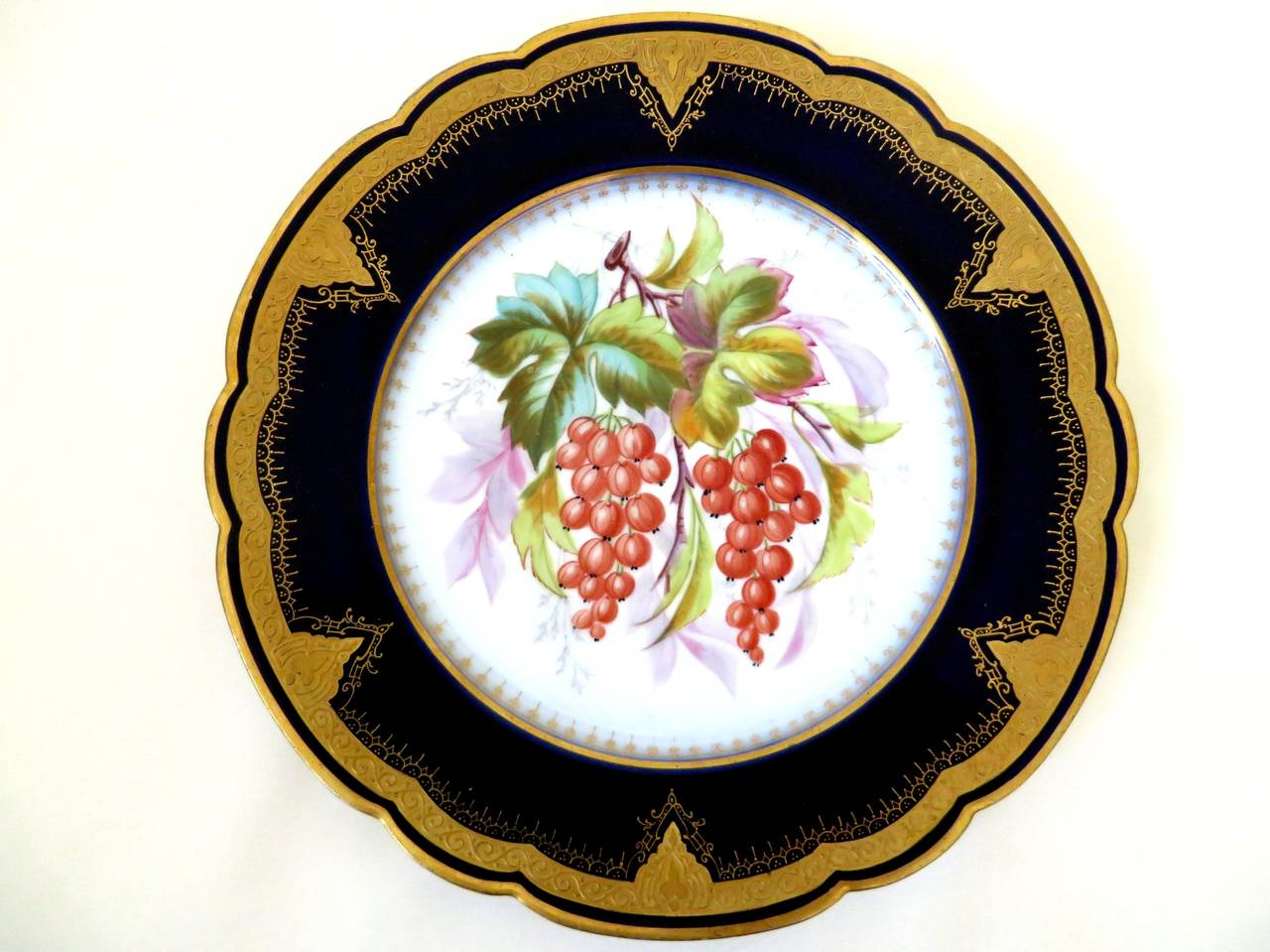 Edwardian Porcelain Plates with Fruit Motifs For Sale