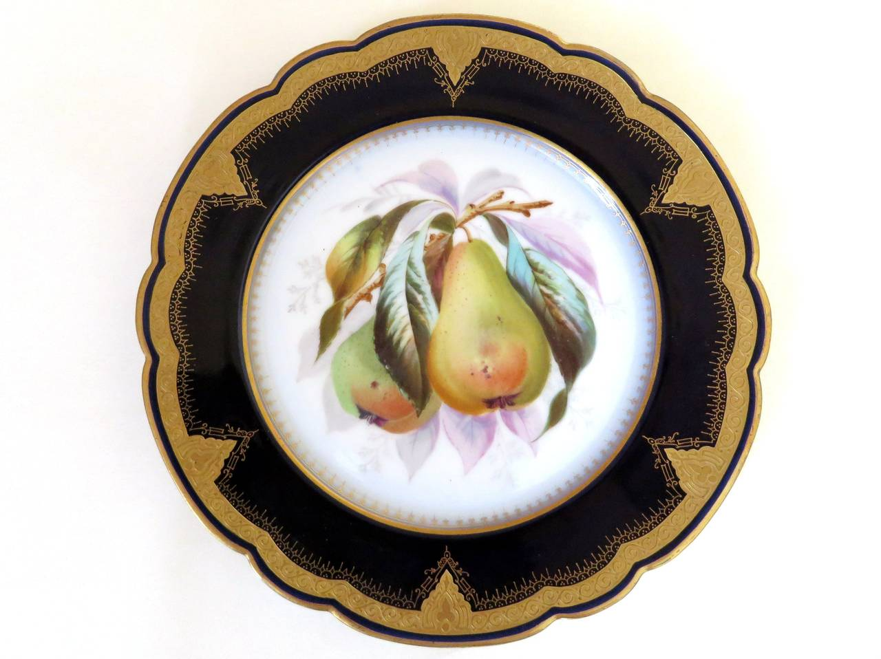 English Porcelain Plates with Fruit Motifs For Sale