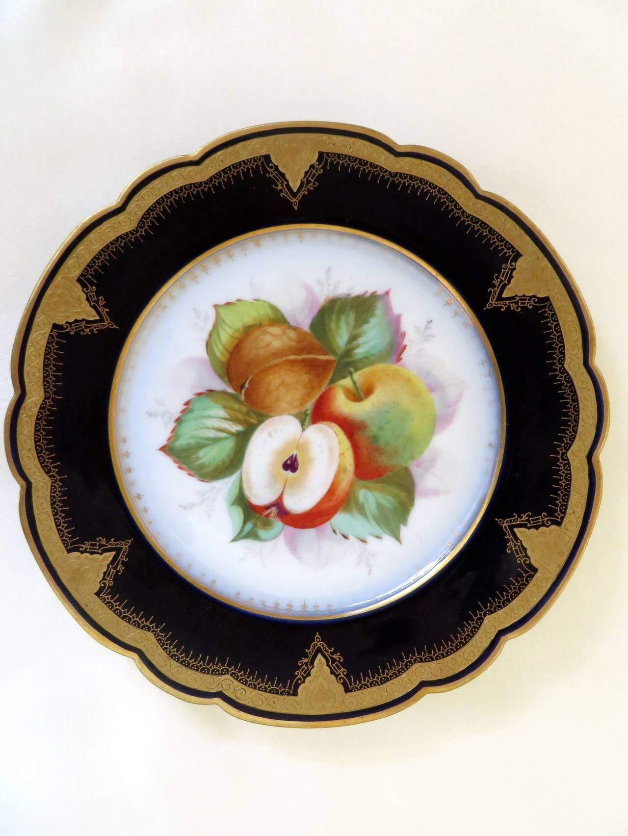 Porcelain Plates with Fruit Motifs In Excellent Condition For Sale In Manchester, MA