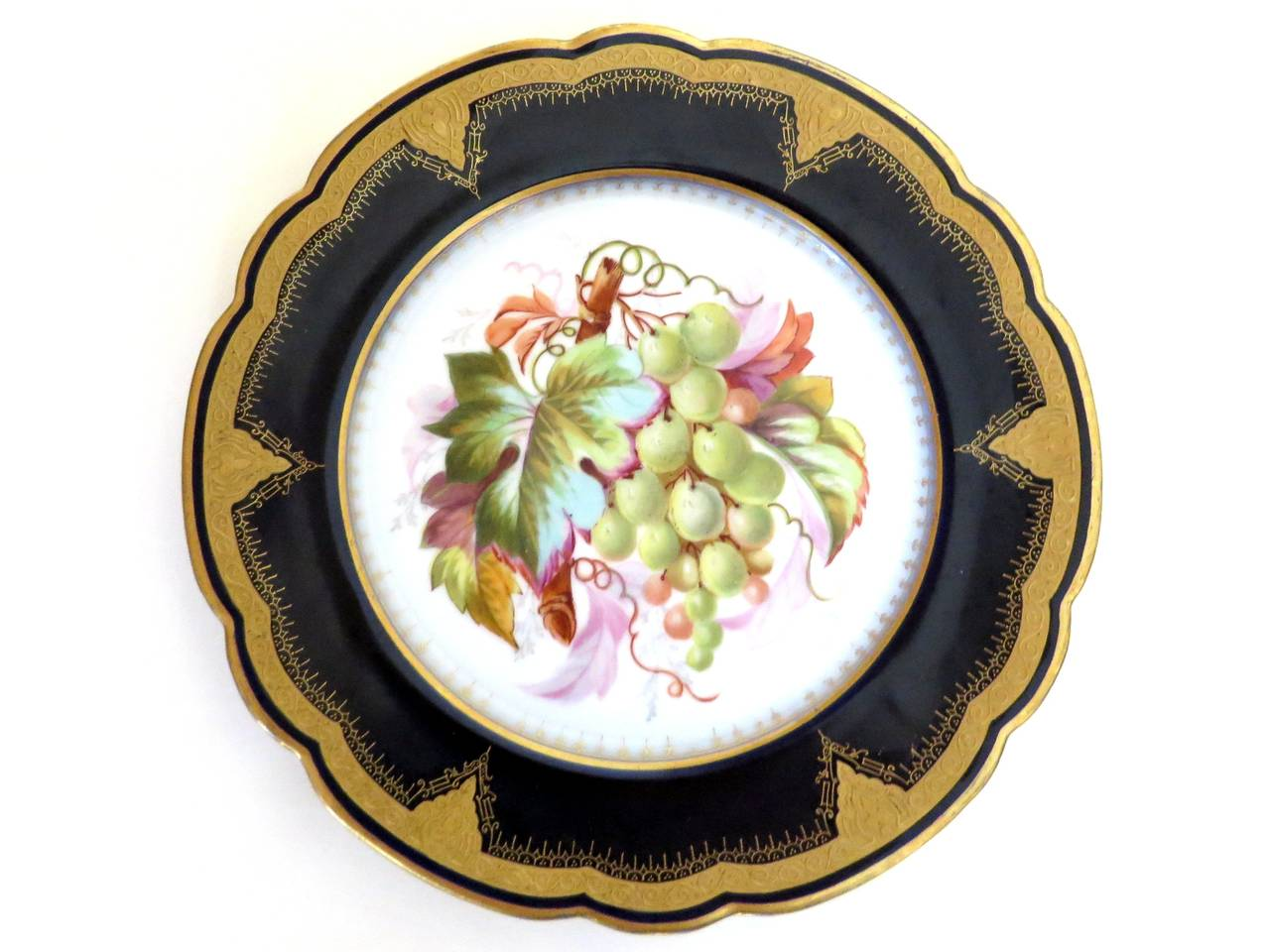 19th Century Porcelain Plates with Fruit Motifs For Sale