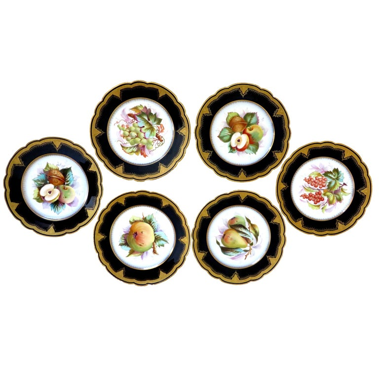 Porcelain Plates with Fruit Motifs For Sale