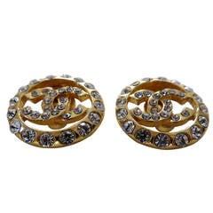 Vintage Chanel Gold Logo Earrings