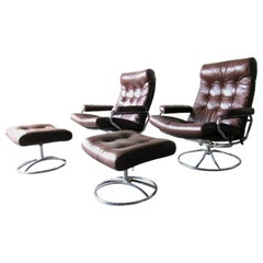 Ekornes Stressless Armchair Set and Foot Stool in Brown Leather, 1971