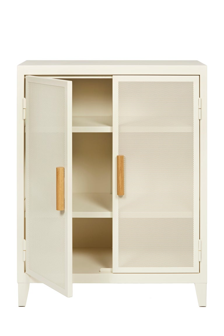 For Sale: White (Ivoire) B2 Perforated Low Locker in Essential Colors by Chantal Andriot and Tolix 4