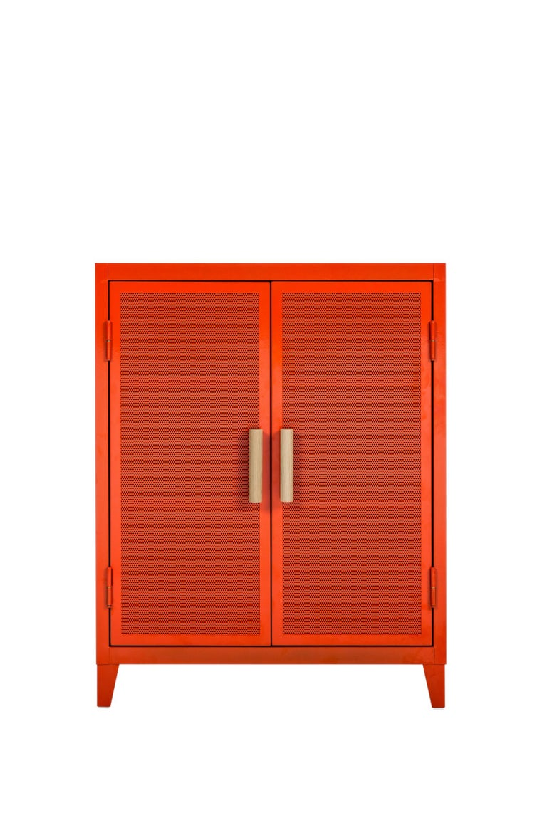 For Sale: Orange (Potiron) B2 Perforated Low Locker in Essential Colors by Chantal Andriot and Tolix