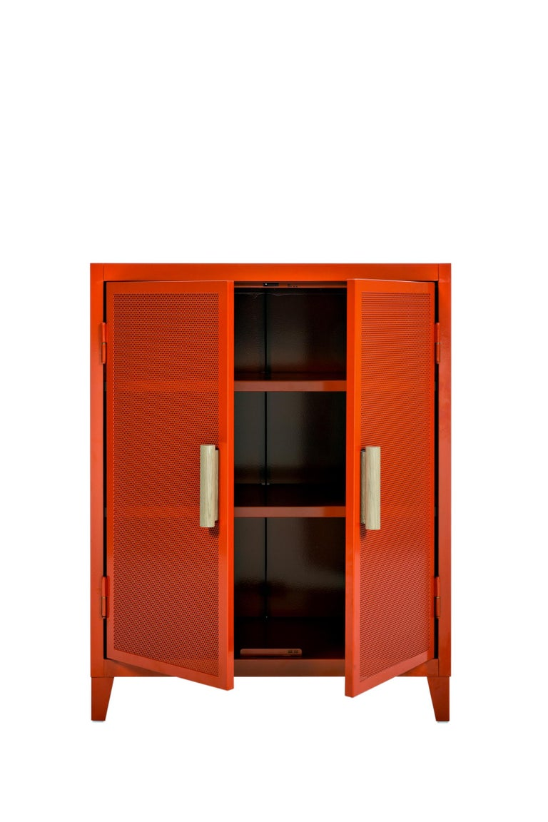 For Sale: Orange (Potiron) B2 Perforated Low Locker in Essential Colors by Chantal Andriot and Tolix 2