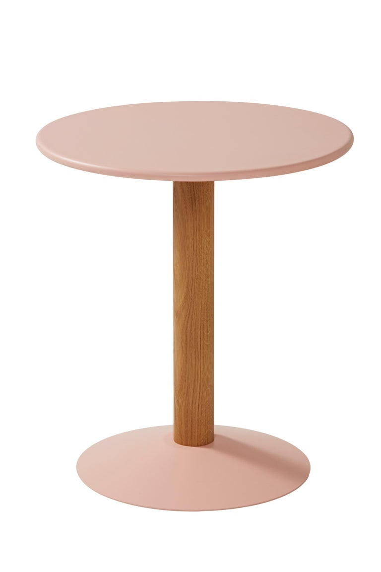 Pink (Rose Poudré) Gueridon C16 Round Pedestal Table in Pop Colors by Chantal Andriot & Tolix