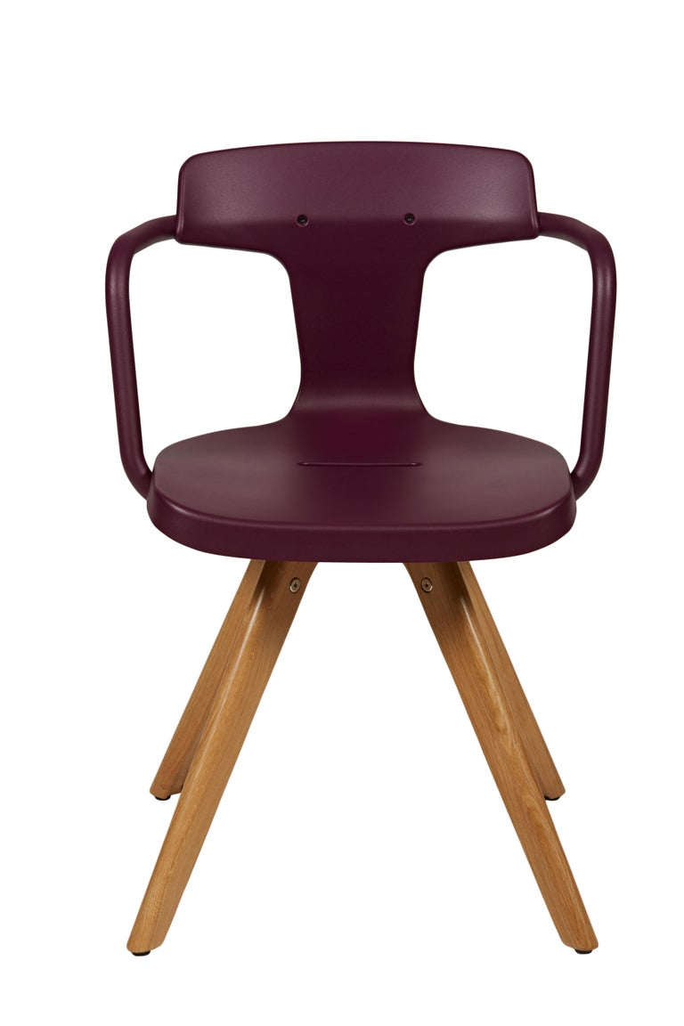 For Sale: Purple (Aubergine) T14 Chair with Wood Legs in Pop Colors by Patrick Norguet and Tolix 2