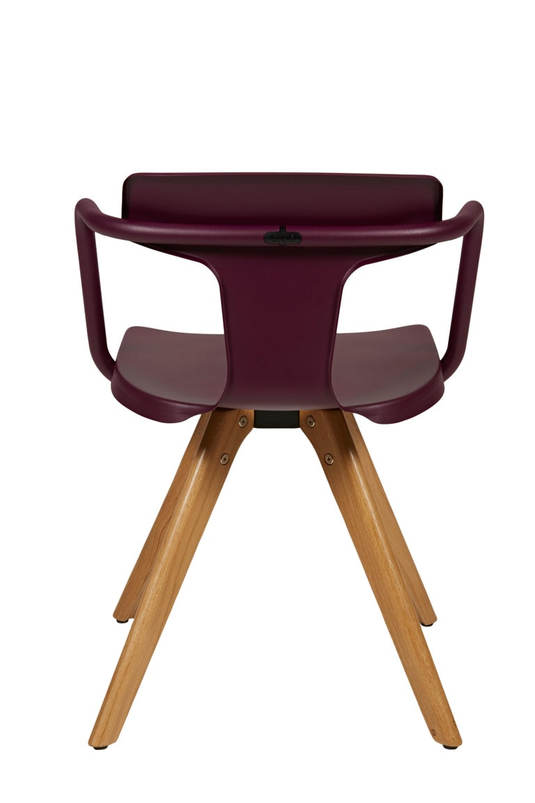 For Sale: Purple (Aubergine) T14 Chair with Wood Legs in Pop Colors by Patrick Norguet and Tolix 3