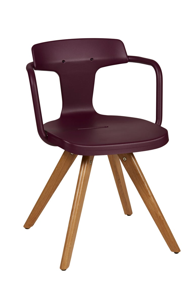 For Sale: Purple (Aubergine) T14 Chair with Wood Legs in Pop Colors by Patrick Norguet and Tolix 4