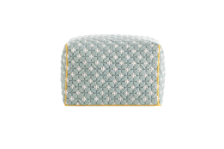 For Sale: undefined (Blue) GAN Silaï Small Pouf in Wool