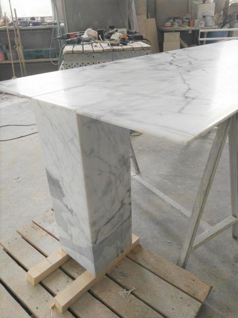Modern Rectangular Console Table in White Stone by Kreoo For Sale