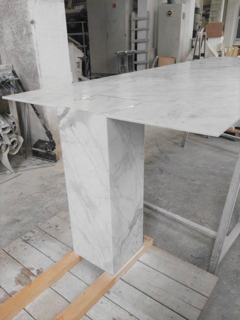 Italian Rectangular Console Table in White Stone by Kreoo For Sale