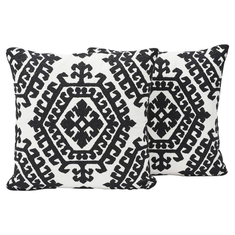 Contemporary Schumacher Omar Embroidered Medallion Black and White Pillow, 1stdibs New York For Sale