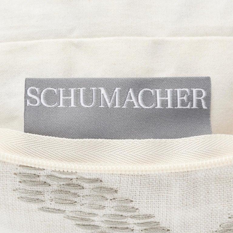 Schumacher Omar Embroidered Medallion Black and White Pillow, 1stdibs New York For Sale 3