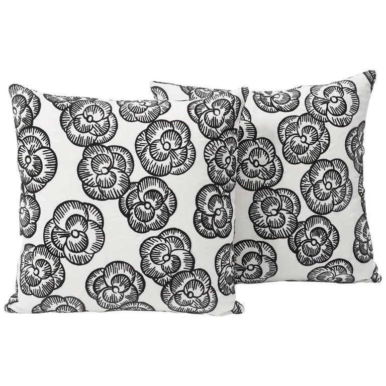 Indian Schumacher Vogue Living Mona Floral Blackwork Pillow, 1stdibs New York For Sale