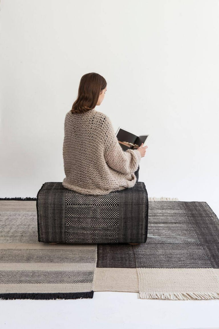 Indian Tres Collection Black Wool and Felt Pouf by Andreu Carulla, 1stdibs New York For Sale