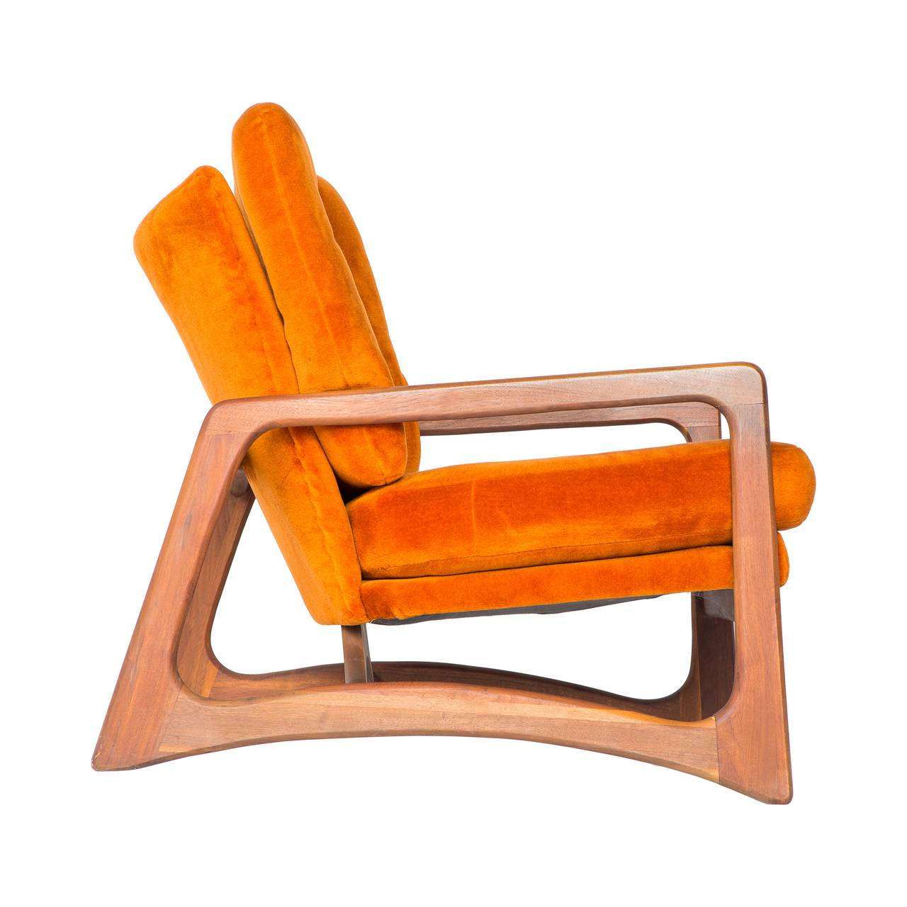 Adrian Pearsall of Craft Associates is one of Mid-Century's most prolific names in atomic design. This beautiful lounge chair features original orange upholstery and a walnut frame. In great vintage condition.