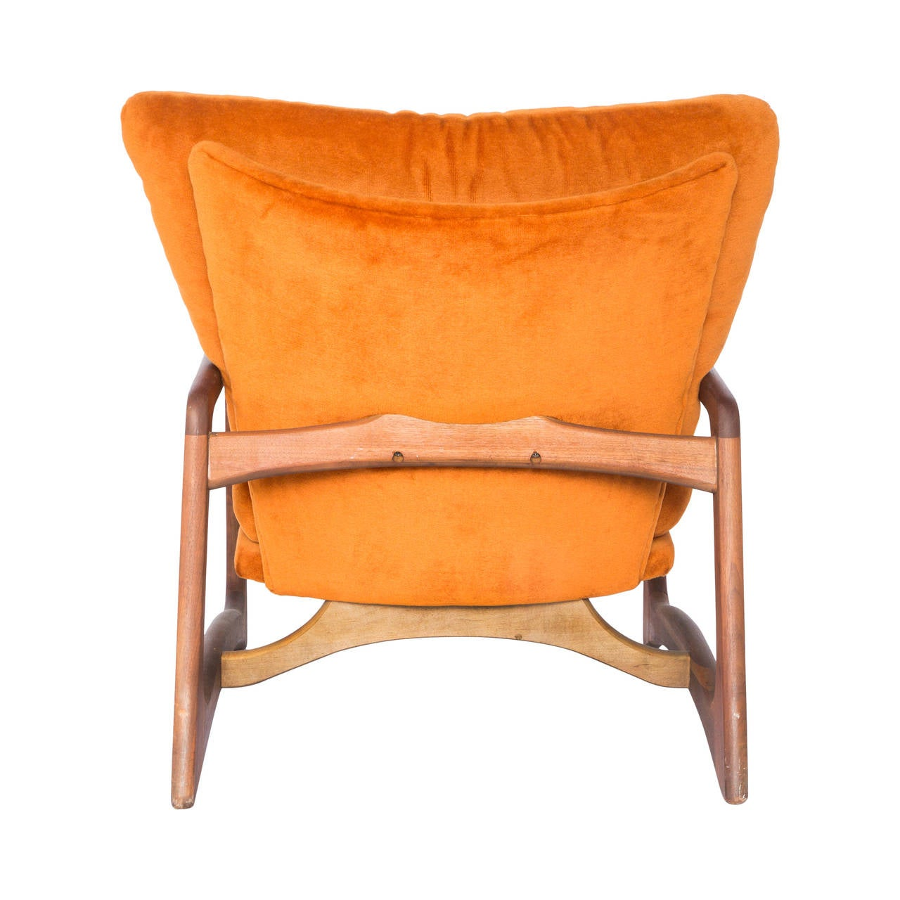 Mid-Century Modern Adrian Pearsall for Craft Associates Sculpted Lounge Chair in Orange Velvet For Sale