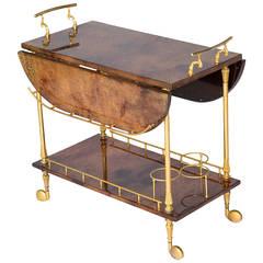 Aldo Tura Lacquered Goatskin Tea Cart - ON SALE!