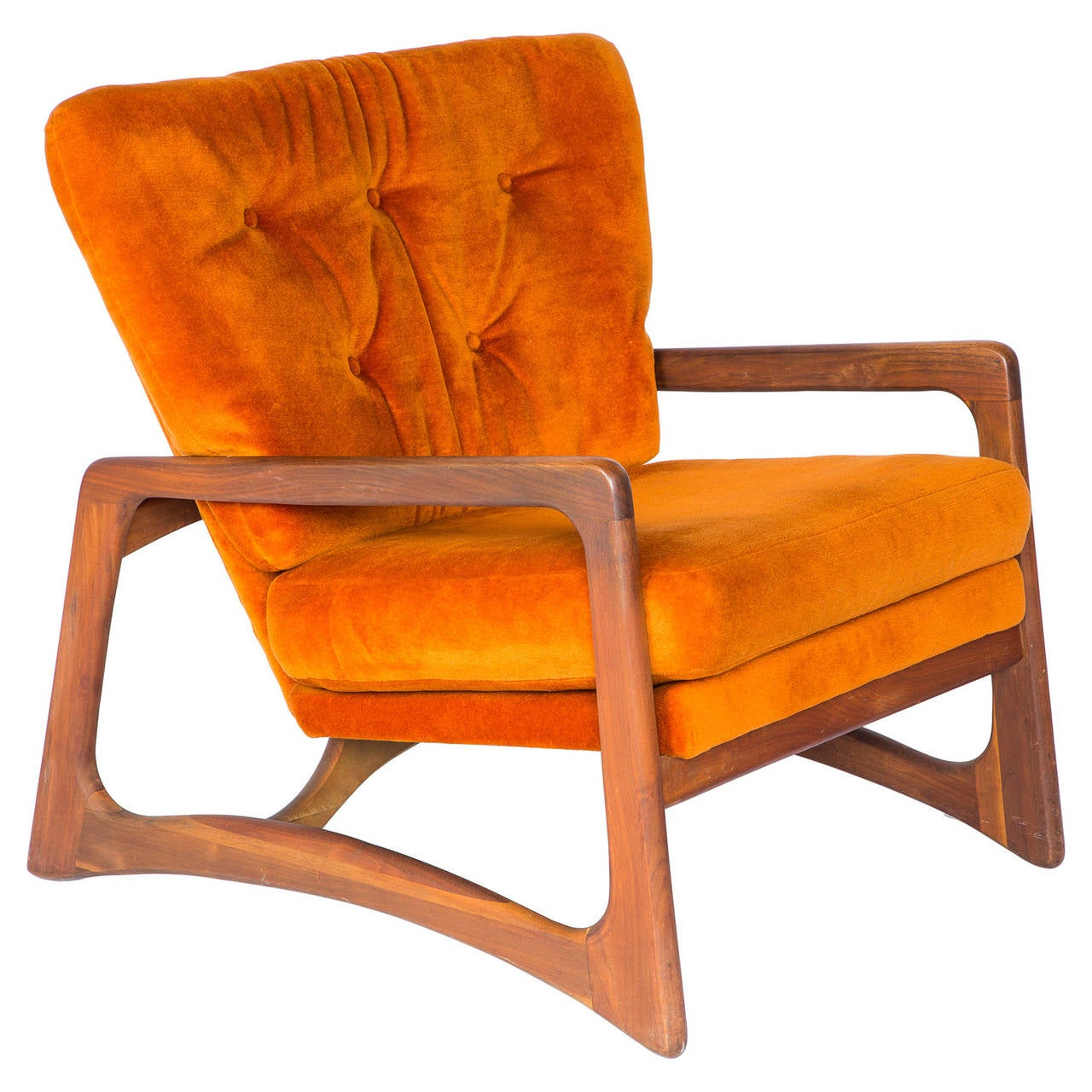 Adrian Pearsall for Craft Associates Sculpted Lounge Chair in Orange Velvet a