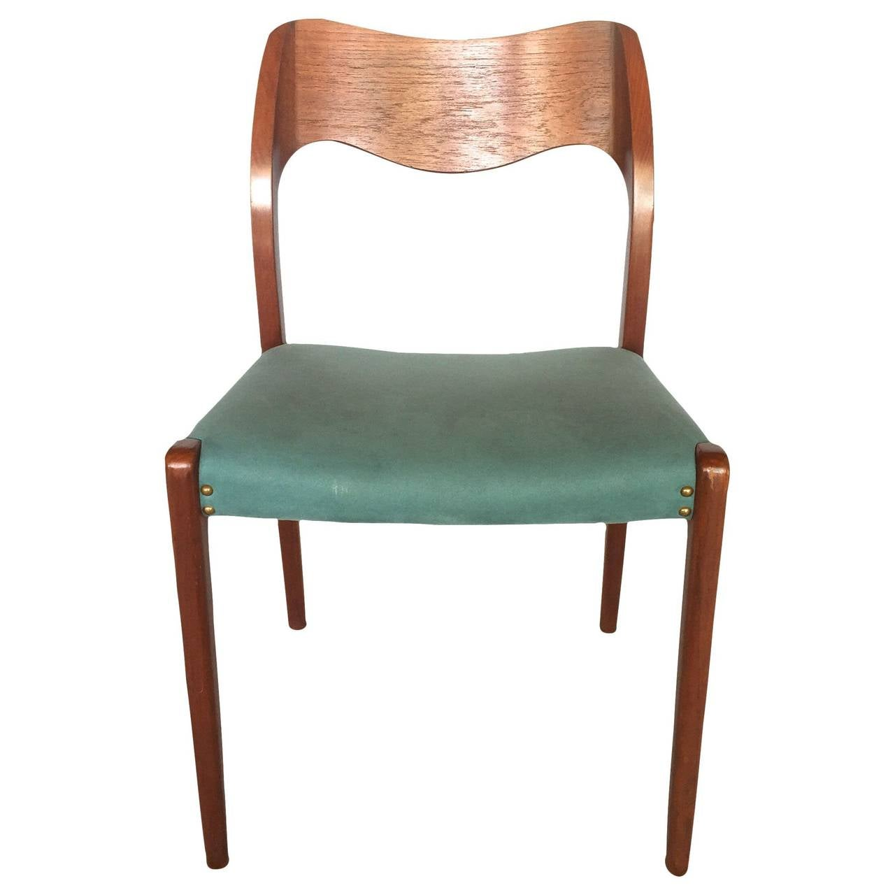 Set of 6 turquoise jl m ller teak dining chairs at 1stdibs - Turquoise upholstered dining chair ...