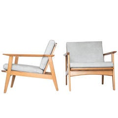 Pair of American Modern Lounge Chairs in Walnut and Grey Leather