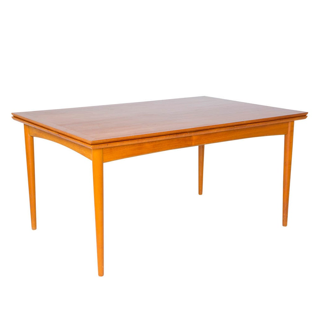 Danish modern expandable teak dining table at 1stdibs for Expandable dining table