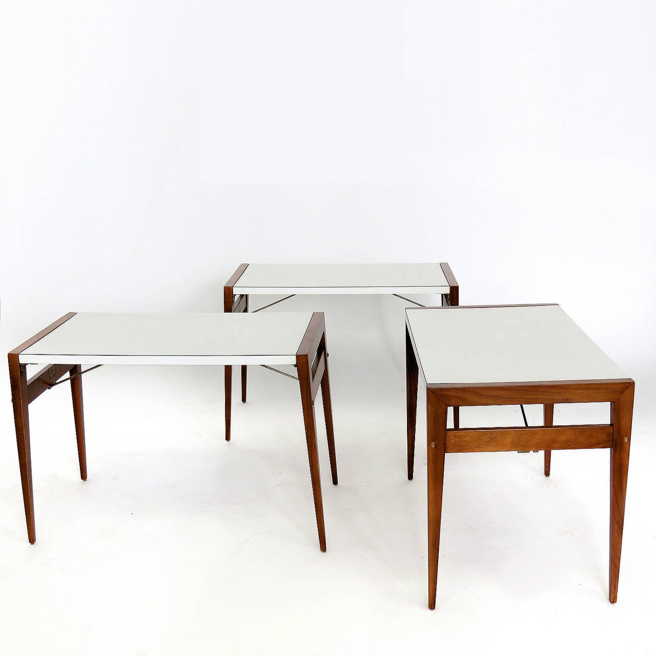 John Keal Coffee Table With Folding Side Tables For Sale