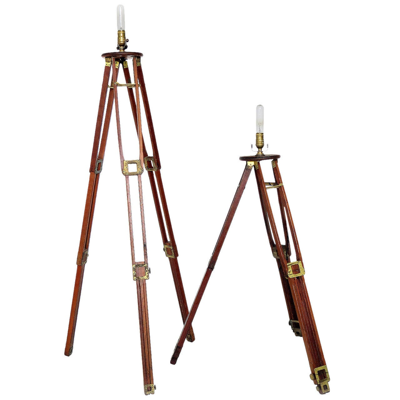 Surveyor tripod lamps at 1stdibs for Surveyors floor lamp wood