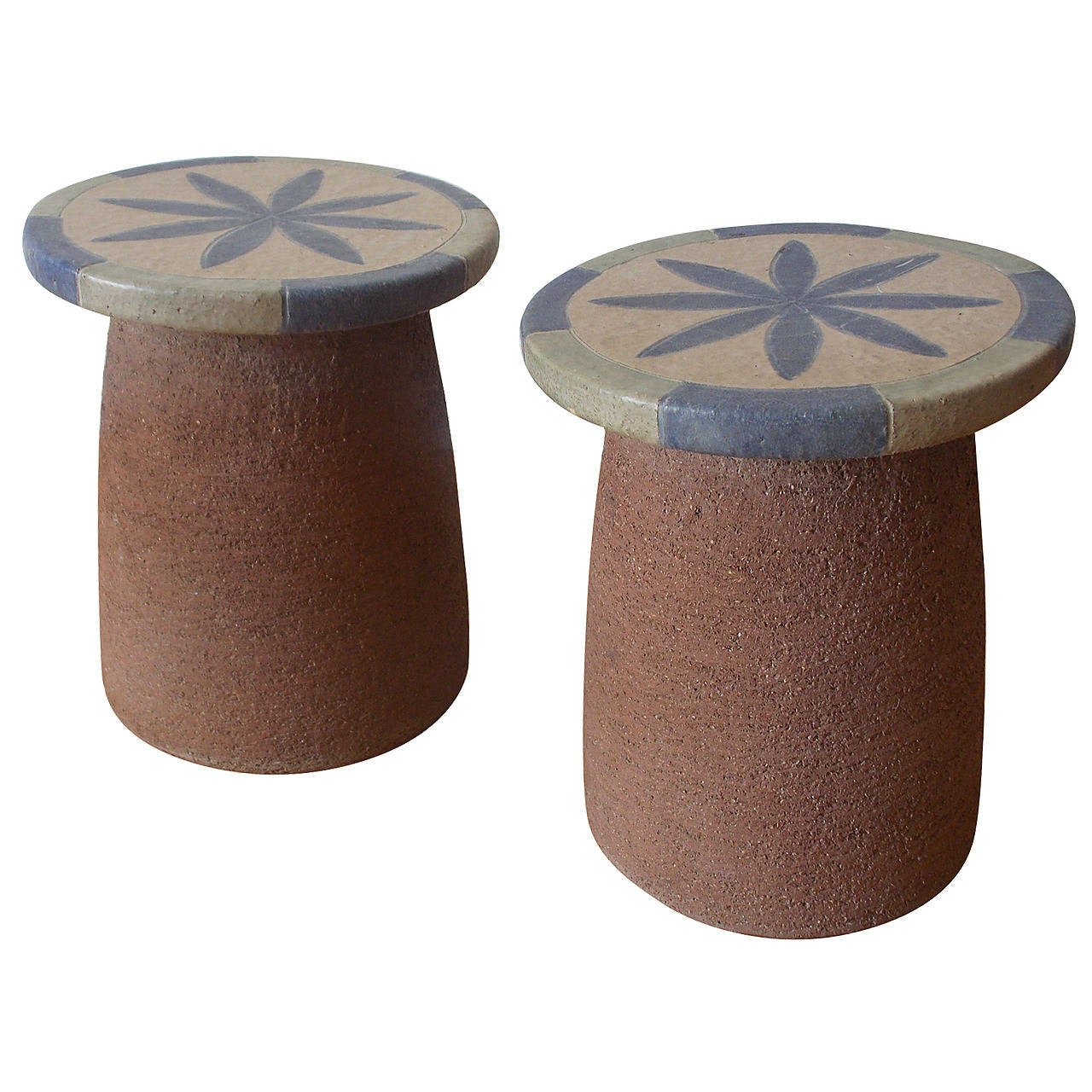 Stan Bitters Pair Of Ceramic Sculpture Stools Or Tables At