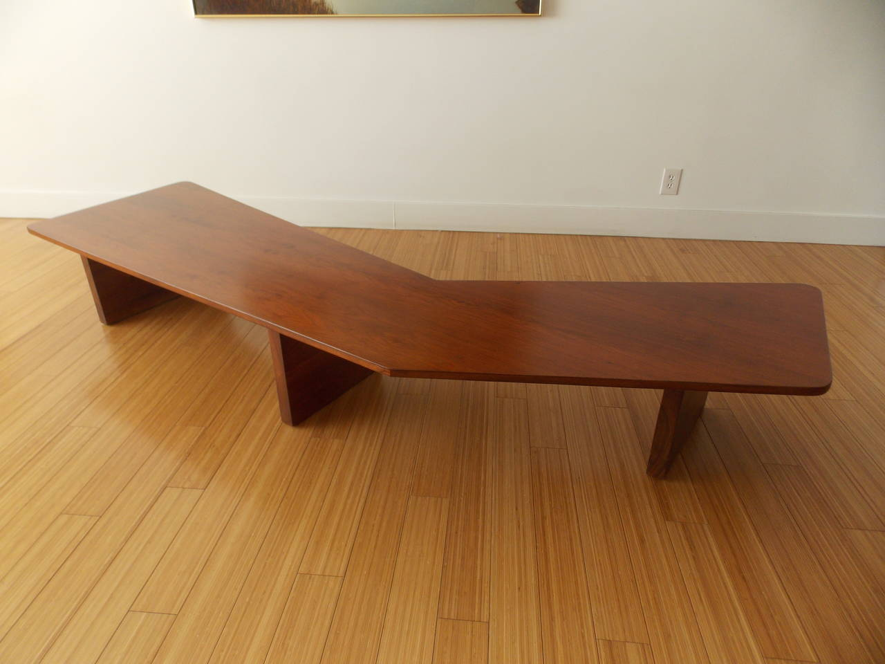 Woodwork  Long Architectural Cocktail Table  For Sale