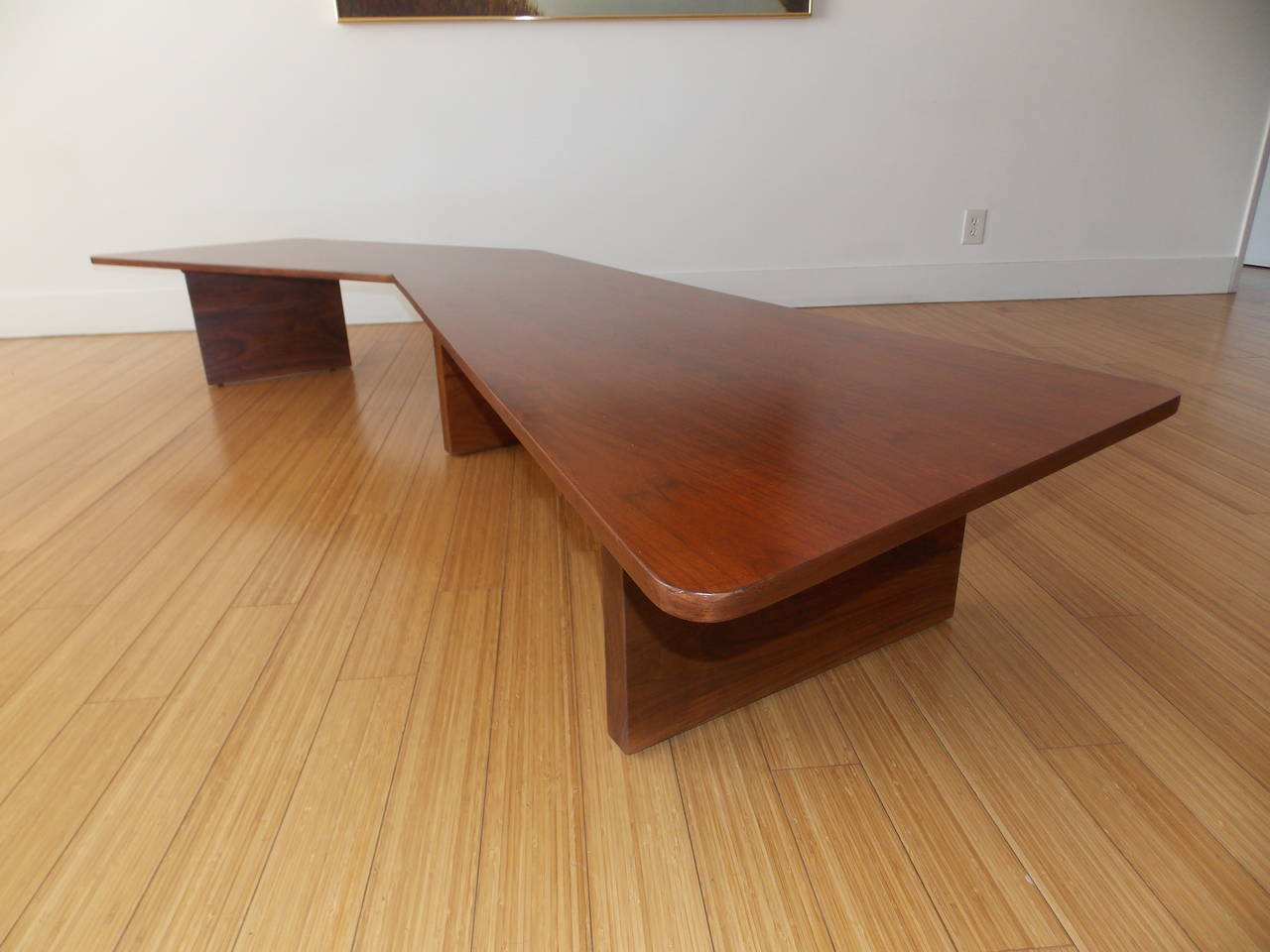 Wood  Long Architectural Cocktail Table  For Sale