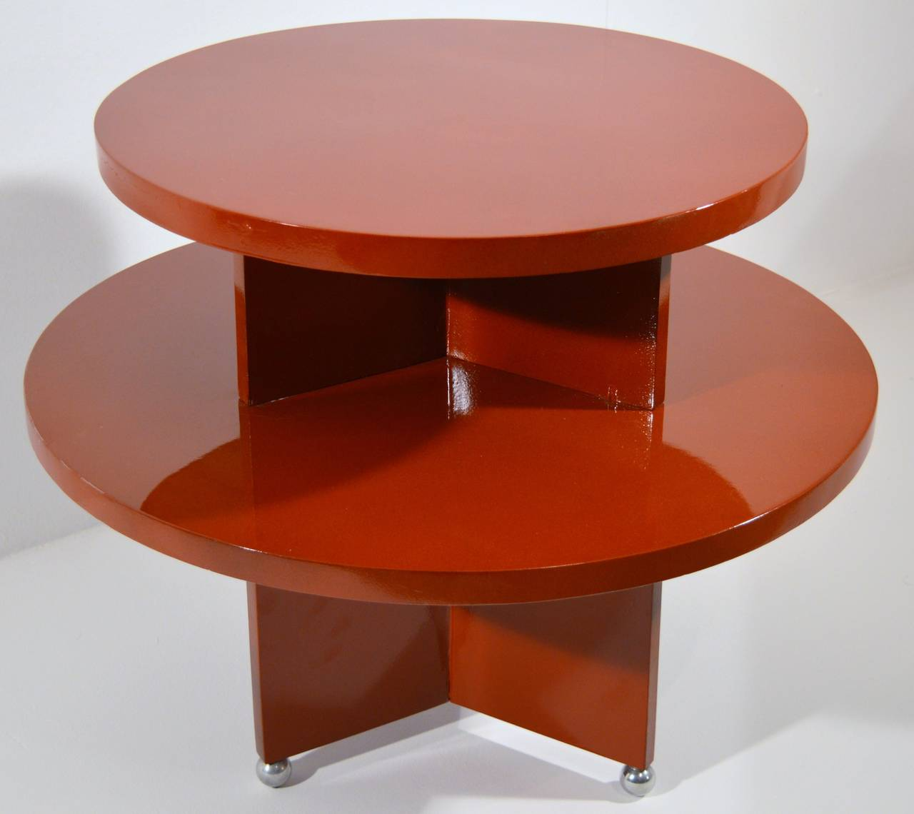 art deco red laquered coffee table on metal ball feet at 1stdibs. Black Bedroom Furniture Sets. Home Design Ideas