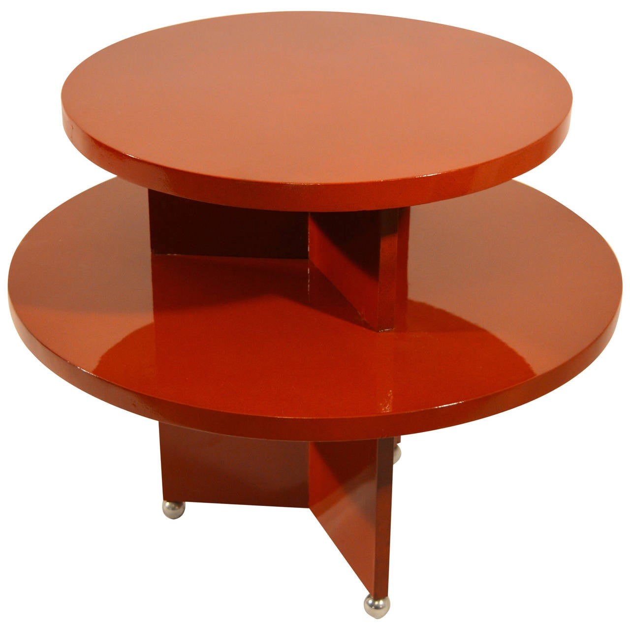 Art Deco Red Laquered Coffee Table On Metal Ball Feet At 1stdibs