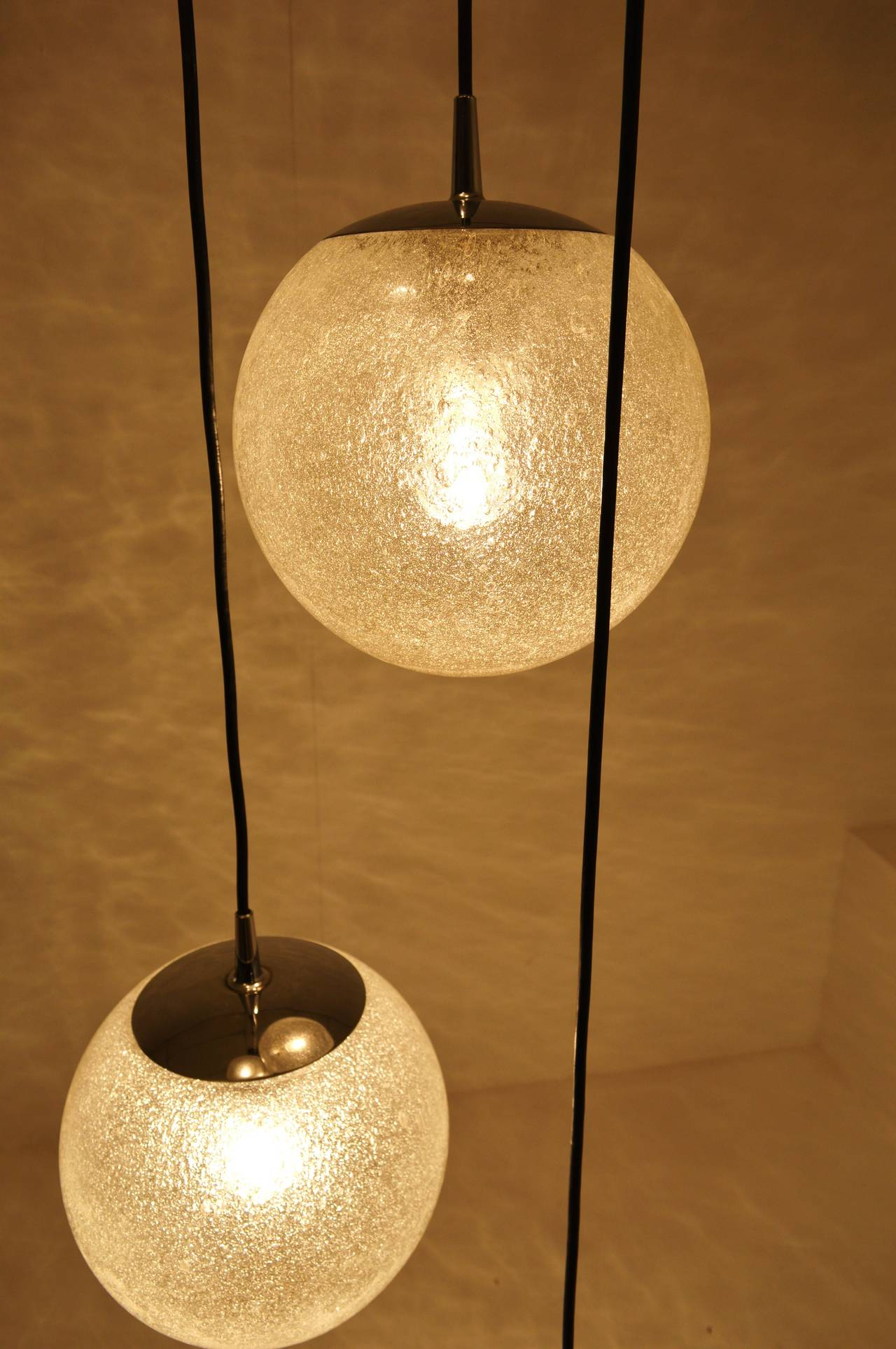 Very large glass ball chandelier s by putzler at stdibs