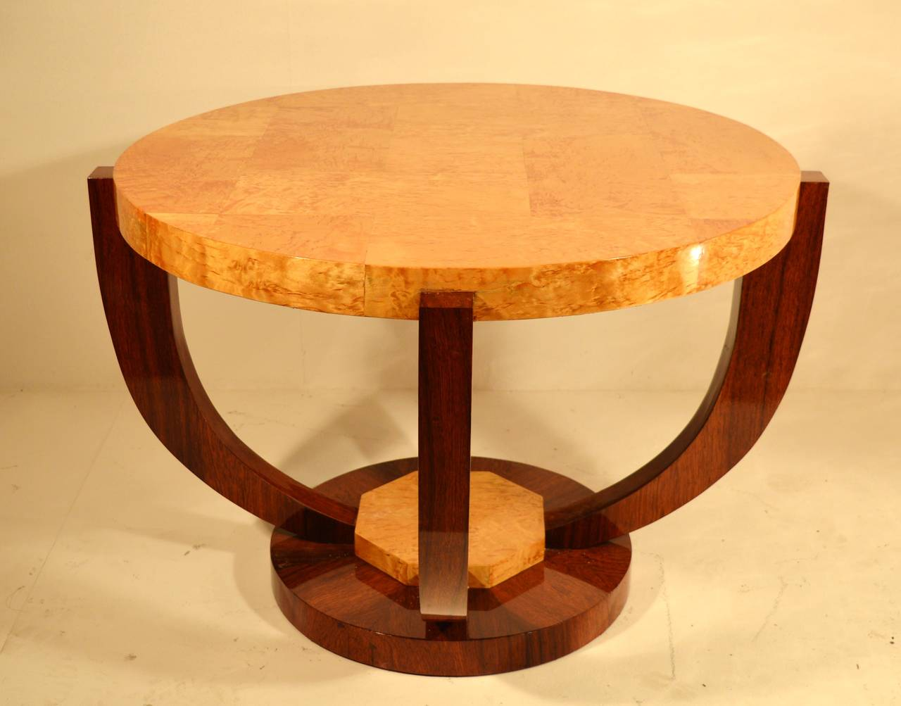 Art Deco Coffee Table In Rosewood And Silver Birch Butt Veneer At 1stdibs