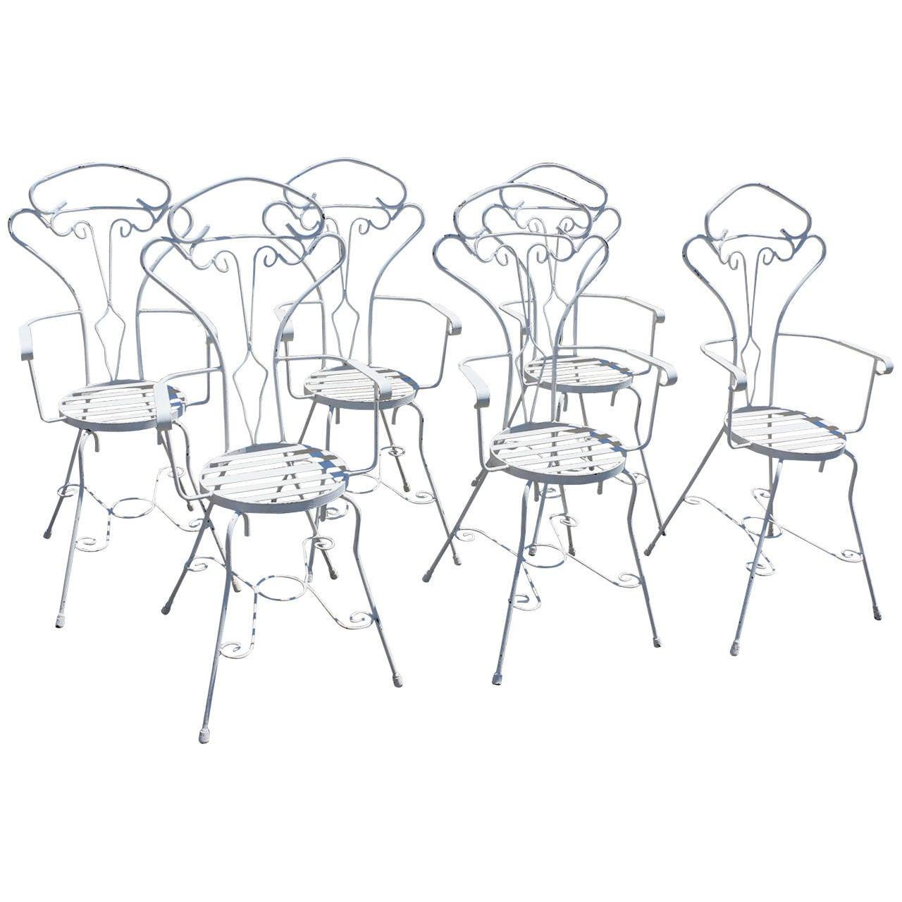 Garden Set of Six Anthropomorphic Iron Chairs