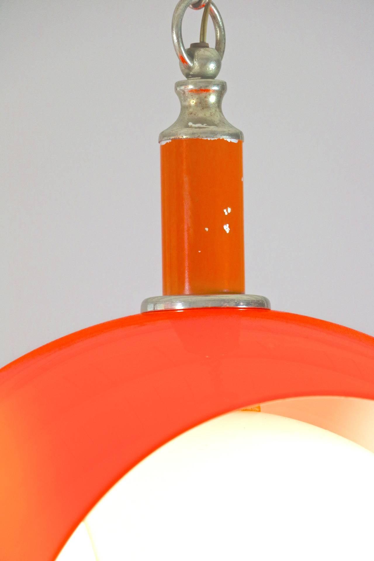Orange Opaline Glass Pendant Light 1970s At 1stdibs