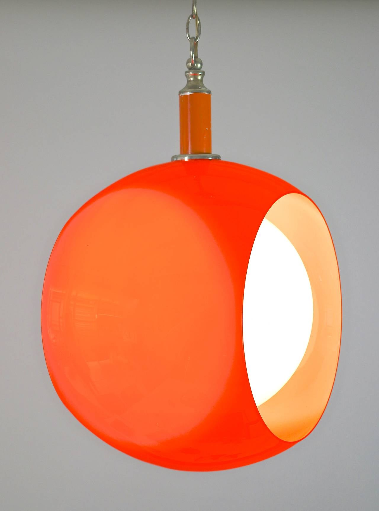 orange opaline glass pendant light 1970s at 1stdibs