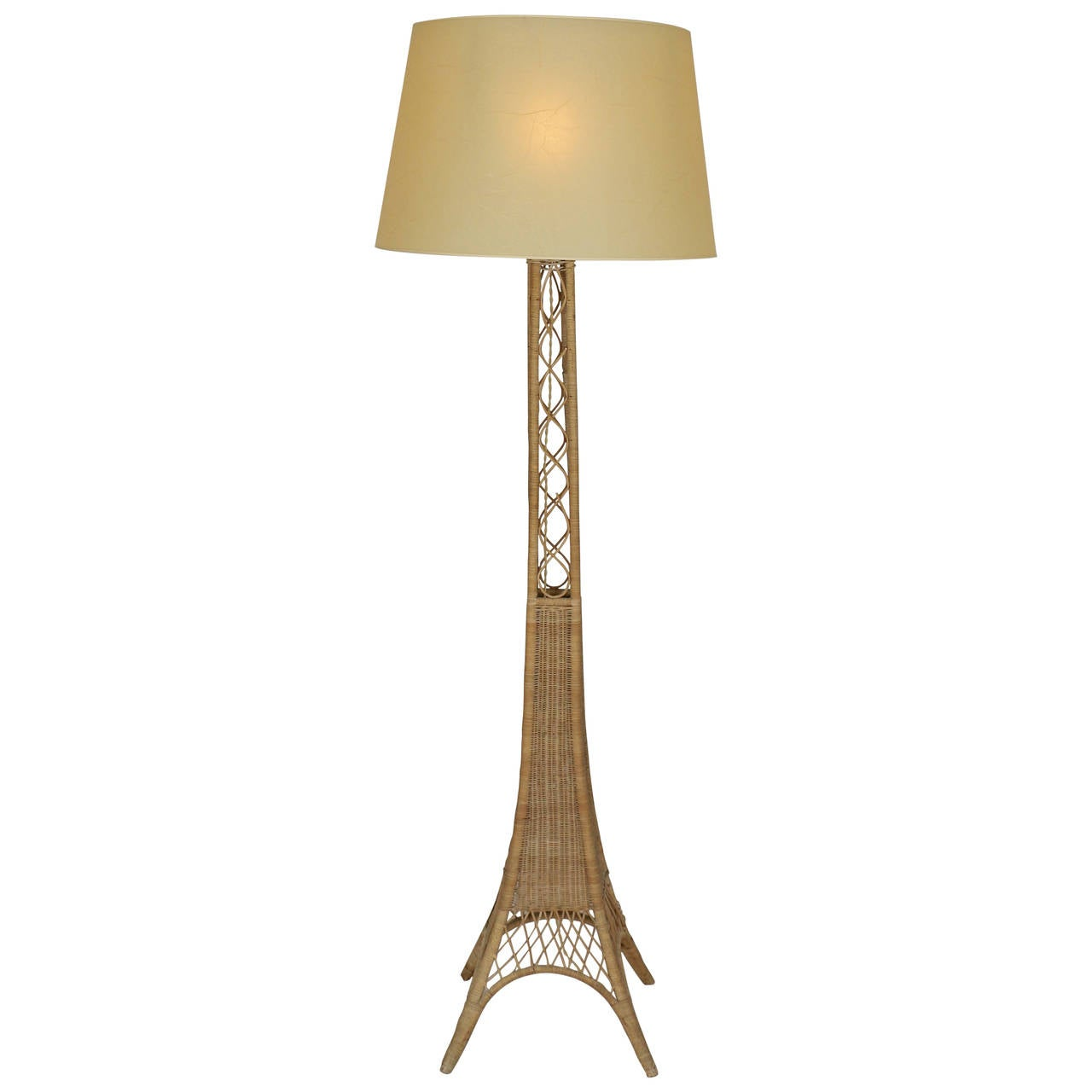 Rattan floor lamp in the style of jean roy re 1970s at 1stdibs for 1970s floor lamps