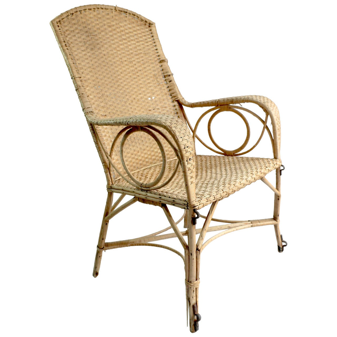 Large rattan armchair for sale at stdibs