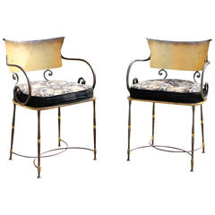 Pair of Armchairs in Gilt Wrought Iron