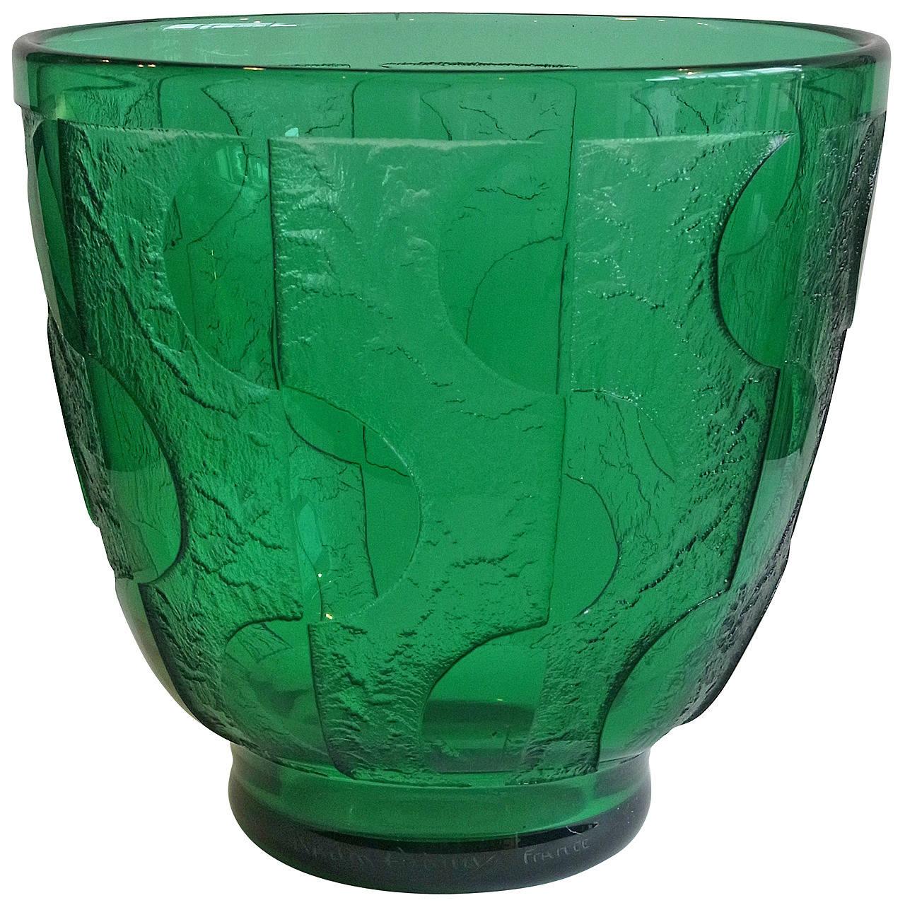 Daum Art Deco Green Geometric Decor Acid Etched Glass Vase
