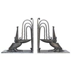 Pair of Art Deco Wrought Iron Pelican Bookends by Edgar Brandt